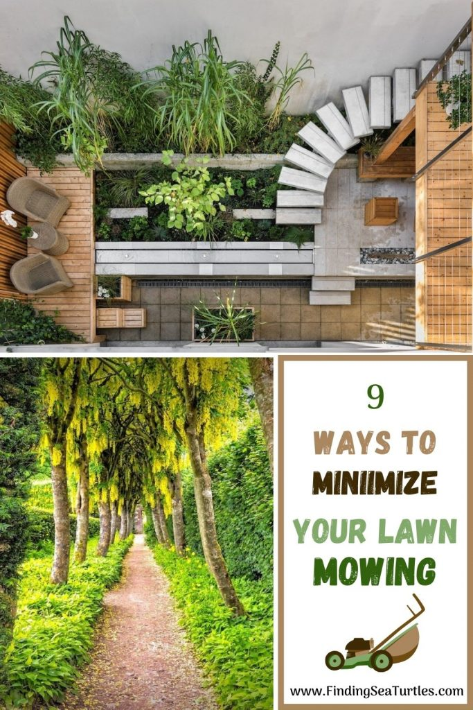 9 Ways to Minimize Your Lawn Mowing #MinimizeLawn #ShrinkYourLawn #SmallerLawn #LessGrassLawn #DownsizeYourLawn
