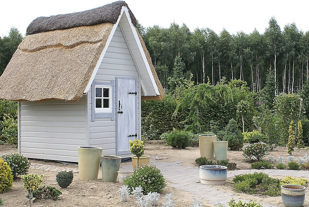Downsize to Less Grass Small Cottage Shed with Pathway and Shrubs #MinimizeLawn #ShrinkYourLawn #SmallerLawn #LessGrassLawn #DownsizeYourLawn