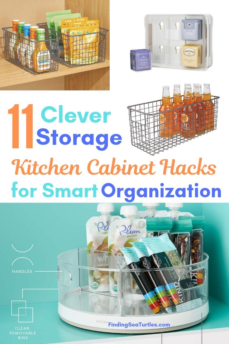 11 Clever Storage Kitchen Cabinet Hacks For Smart Organization #Organize #Organization #OrganizedKitchen #Kitchen #KitchenCabinets #KitchenStorage #CabinetStorage #Storage