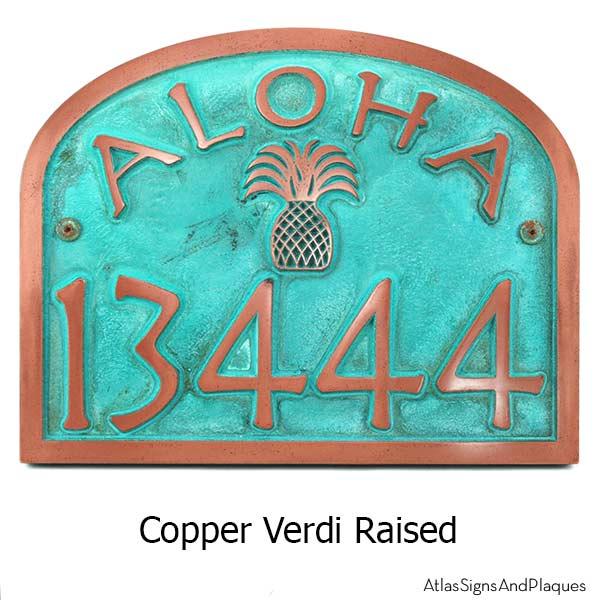 Curb Appeal DIY Coastal Address Sign Aloha Address Plaque Copper Verdi #DIY #CurbAppeal #CoastalDecor #AddressSign #CoastalHome