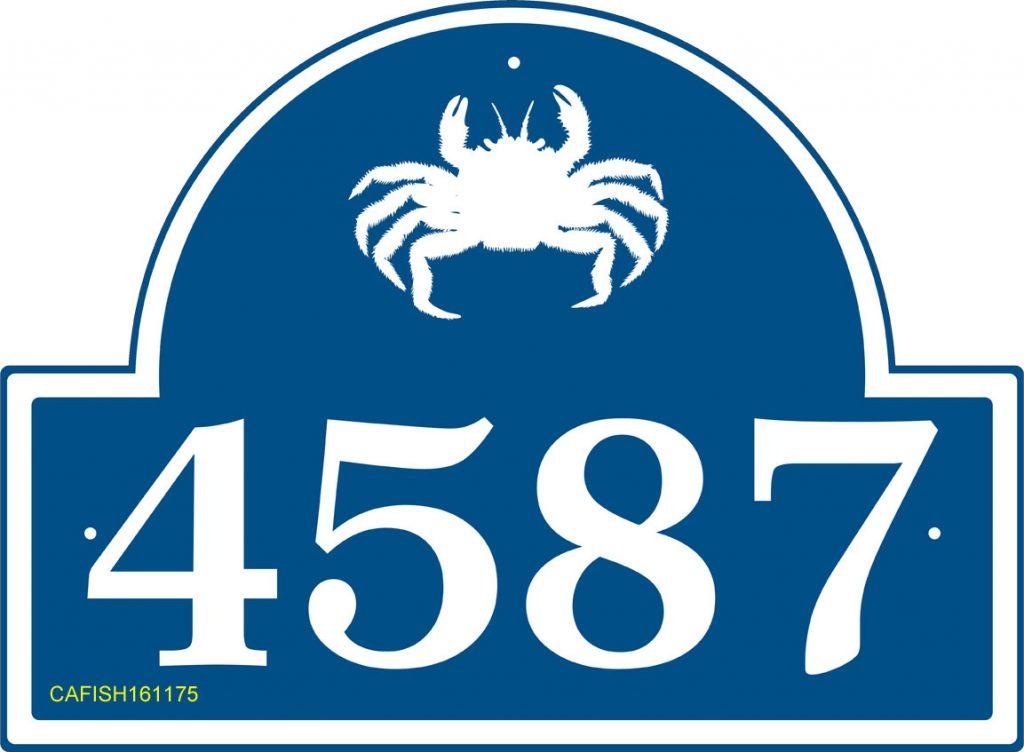 Curb Appeal DIY Coastal Address Sign - Sea Creature Theme House Number Sign (Crab) #DIY #CurbAppeal #CoastalDecor #AddressSign #CoastalHome