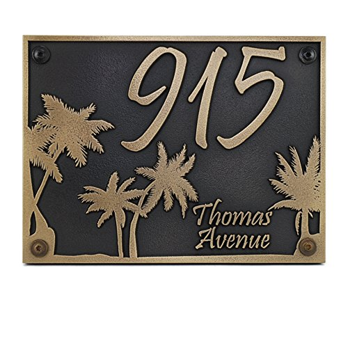 Curb Appeal DIY: Coastal Address Sign - Palm Tree Custom plaque #CoastalDecor #CurbAppeal #DIY #AddressSign #FrontDoorDIY