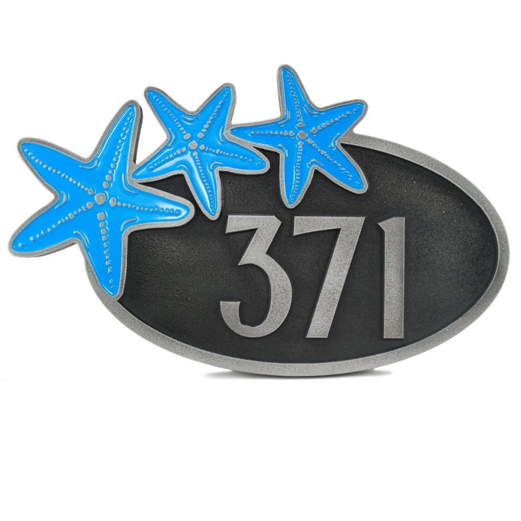 Curb Appeal DIY Coastal Address Sign - Starfish Trio Address Plaque #DIY #CurbAppeal #CoastalDecor #AddressSign #CoastalHome