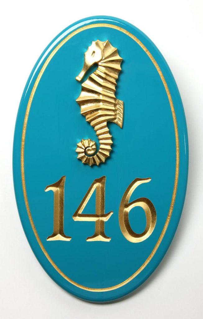 Curb Appeal DIY Coastal Address Sign Teal Seahorse Address #DIY #CoastalDecor #CurbAppeal #AddressSign #CoastalDecorDIY