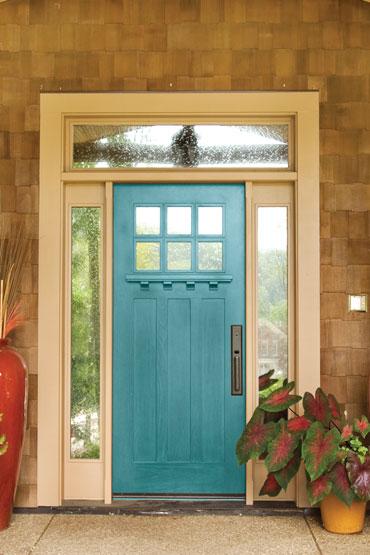 9 Stunningly Bold Coastal Front Doors - Plumosa PPG #bolddoors #ColorfulDoors #BrightDoors #doors #GreenDoors