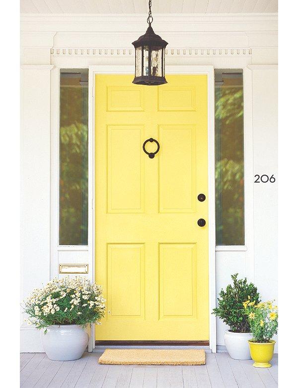 Curb Appeal DIY: Paint Your Front Door - By Aimee Herring #ColorfulDoors #BoldDoors #curbappeal #YellowDoor #diy