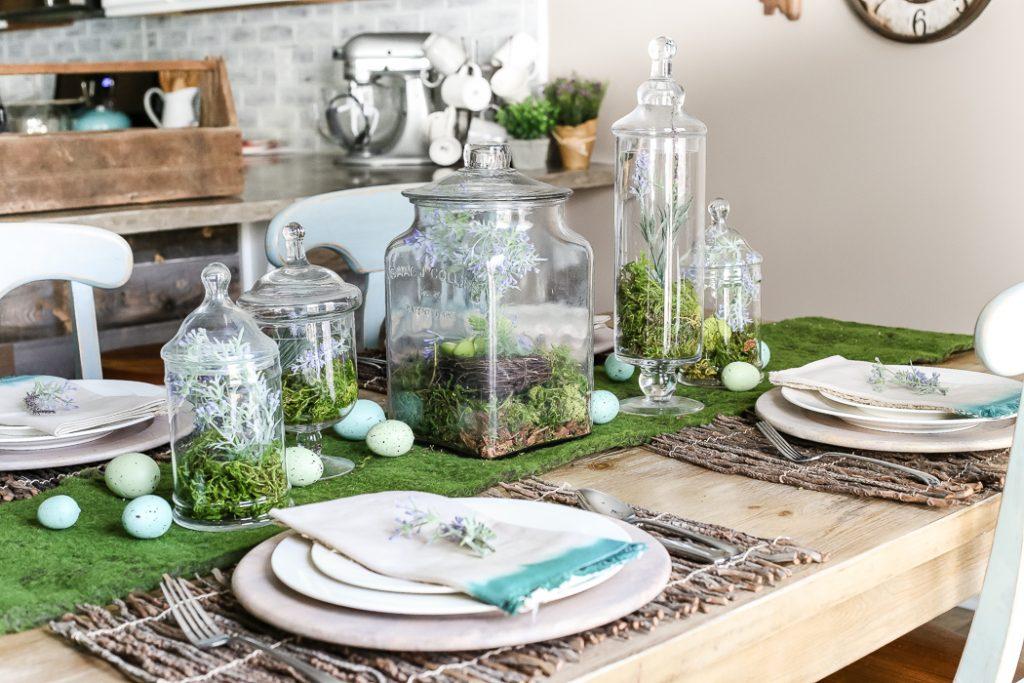 9 DIY Easter Decor Ideas for a Coastal Home - Apothecary Jar Terrarium Easter Centerpiece #DIY #DecorDIY #EasterDecorDIY #CoastalHome #EasterCoastalHome