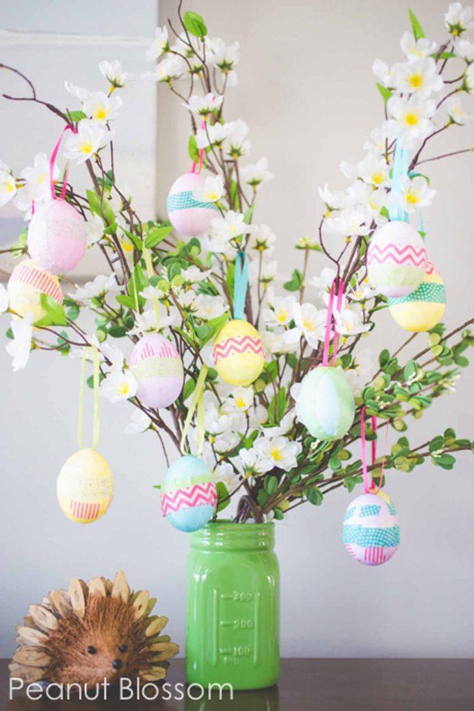 9 DIY Easter Decor Ideas for a Coastal Home - Easter Egg Tree #EasterDIY #EasterDecorDIY #DIY #EasterCoastalDecor #EasterCoastalHome