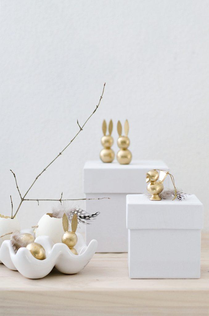 9 DIY Easter Decor Ideas for a Coastal Home - Easter Gold Bunnies and Chicks #DIY #EasterDIY #EasterDecor #EasterCoastalHome #EasterCoastalDecor