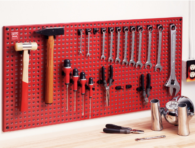 25 Organization Hacks for Your Garage Workshop - Steel Tool Panel System #Garage #tool #organize #workshop #hack