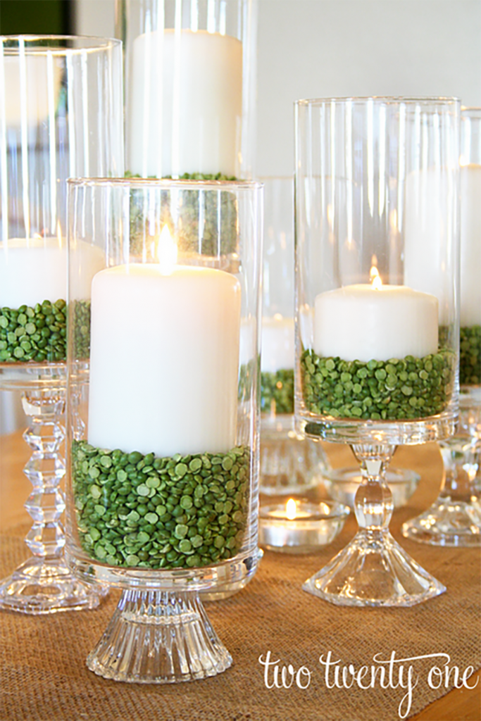 Coastal Decor DIY 8 St. Patrick's Day Decor Ideas - St. Patrick's Day Candle Setting Decor #DIY #DecorDIY #StPatsDay #StPatricksDecor #Coastal Decor