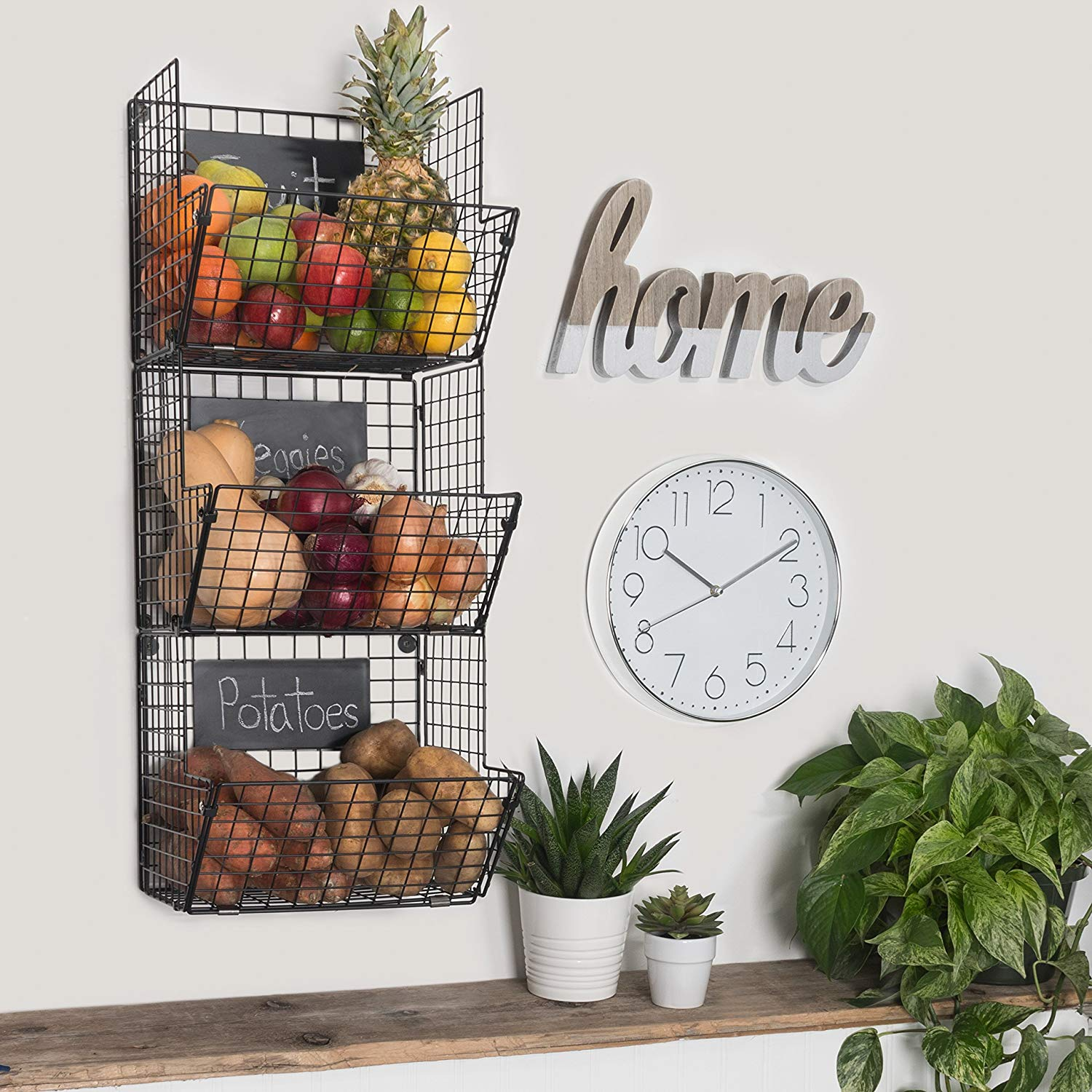 11 Things to Help You Maximize Your Kitchen Cabinet Storage 3 Tier Wall Mounted Wire Baskets With Chalkboard #Organize #Organization #OrganizedKitchen #Kitchen #KitchenCabinets #KitchenStorage #CabinetStorage #Storage