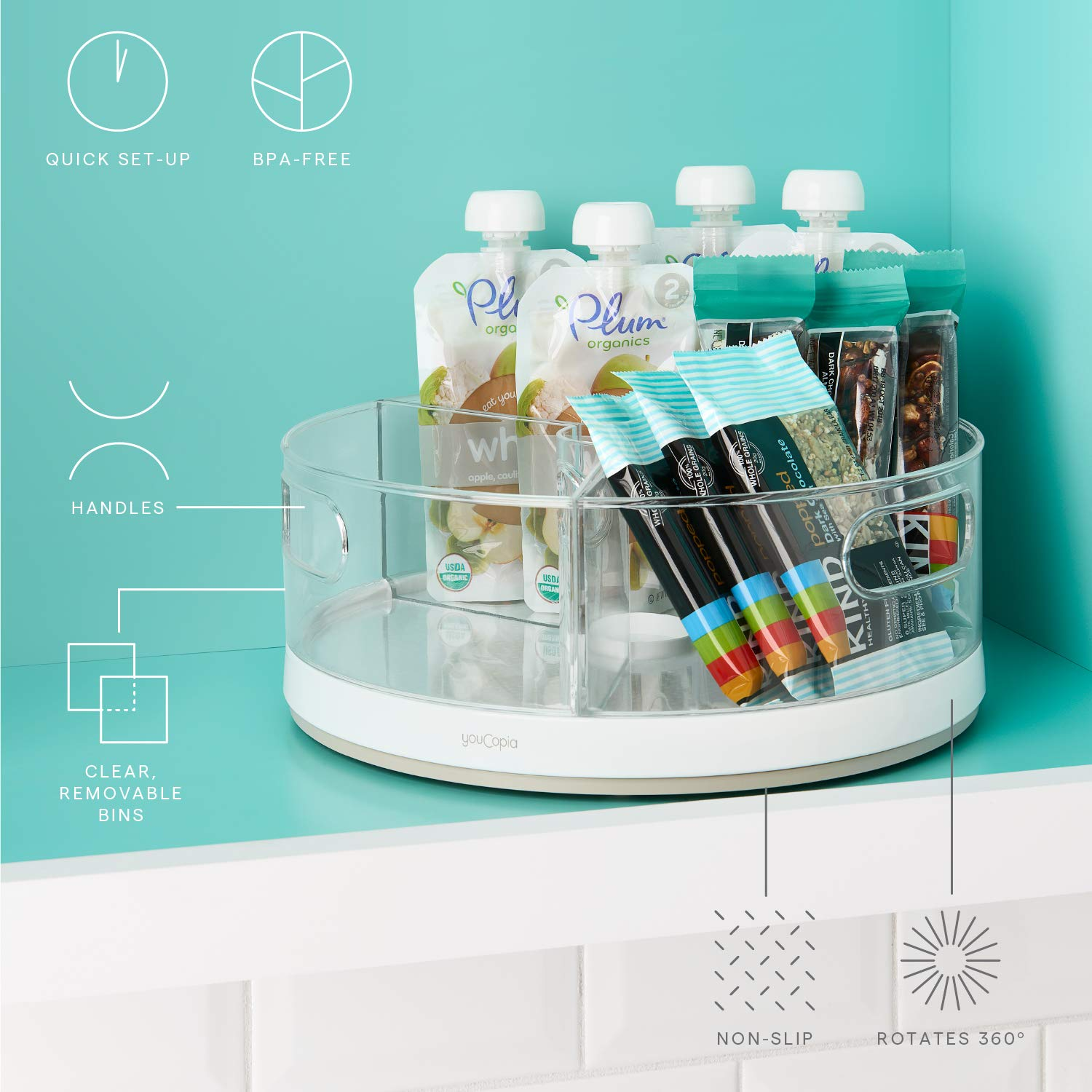 11 Things to Help You Maximize Your Kitchen Cabinet Storage YouCopia Crazy Susan Turntable Organizer #Organize #Organization #OrganizedKitchen #Kitchen #KitchenCabinets #KitchenStorage #CabinetStorage #Storage