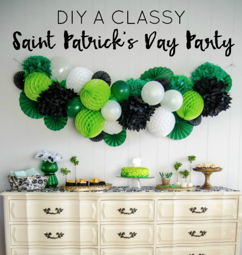 Coastal Decor DIY 8 St. Patrick's Day Decor Ideas - St. Patrick's Day Party Giant Honeycomb Garland #DIY #DecorDIY #StPatsDay #StPatricksDecor