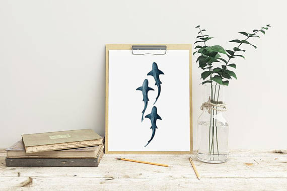 10 Cool Ways to Let Some Shark! Into Your Home - School of Sharks Print #sharkweek #shark #beachdecor #beachhouse #coastaldecor