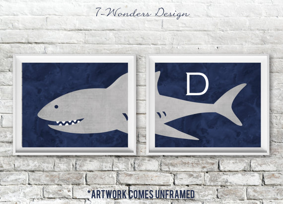 10 Cool Ways to Let Some Shark! Into Your Home - Monogrammed Kid's Shark Wall Art #sharkweek #shark #beachdecor #beachhouse #coastaldecor