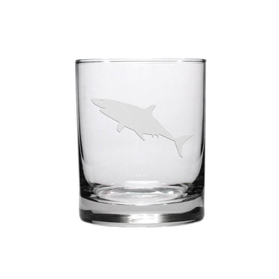 10 Cool Ways to Let Some Shark! Into Your Home - Shark Engraved Whiskey Glass #sharkweek #shark #beachdecor #beachhouse #coastaldecor