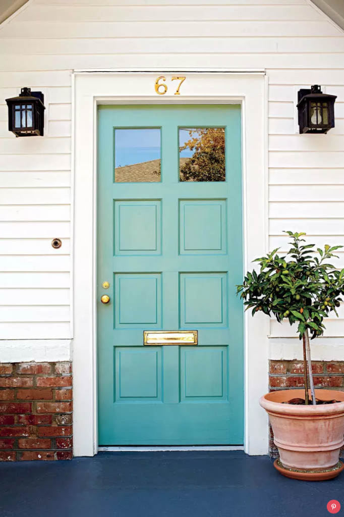 9 Stunningly Bold Coastal Front Doors - Quarry by Pratt and Lambert #bolddoors #bluedoors #colorfuldoors #brightdoors #doors