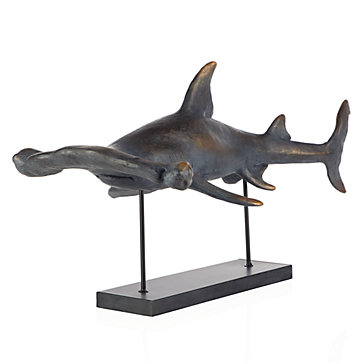 10 Cool Ways to Let Some Shark! Into Your Home - Hammerhead Sculpture by ZGallerie #sharkweek #shark #beachdecor #beachhouse #coastaldecor