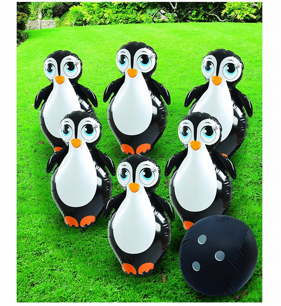 Summer Family Fun Etna Inflatable Penguin Bowling Set #SummerFun #SummerBucketList #SummerGames #PoolFloats