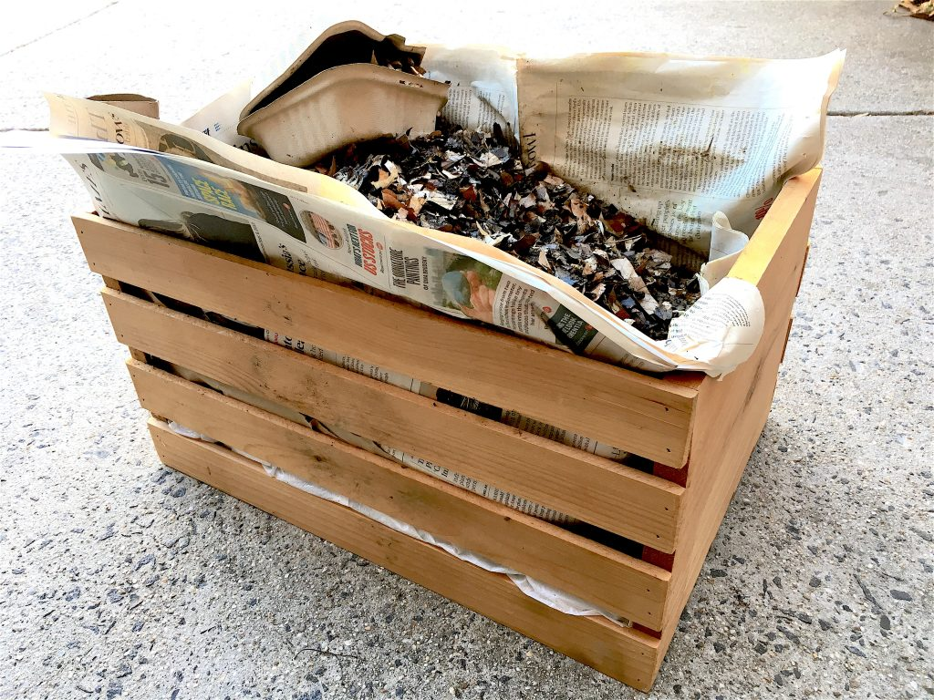 Crate Composting - Alternative for Winter or Small Space Living #gardeningtips #gardeninghack #greengardening