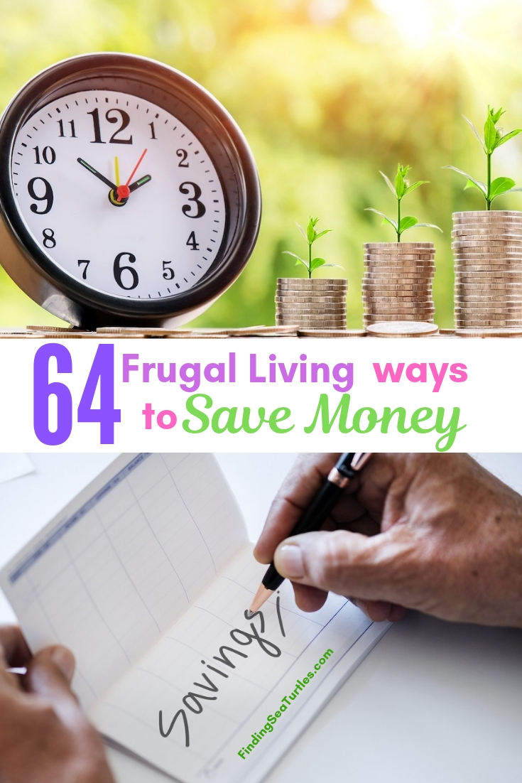 64 Frugal Living Ways To Save Money #Frugal #SaveMoney #FrugalLiving #Budget #MoneySaving #Saver #MoneySavingTips #Thrifty #FamilyBudget