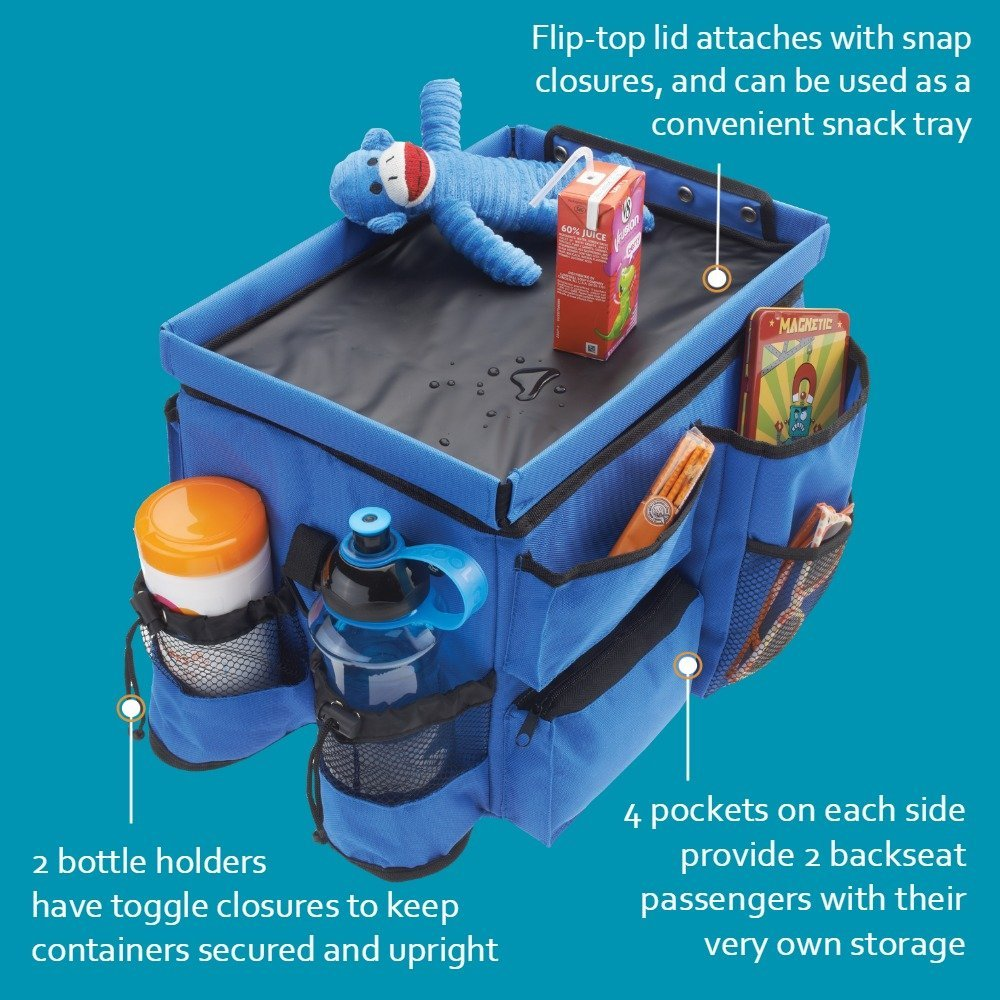 8 Must Haves For Your Kids Road Trip High Road Kids Food 'n Fun Back Seat Organizer #KidsTravel #TravelwithKids #RoadTripWithKids #HghRoadKidsOrganizer