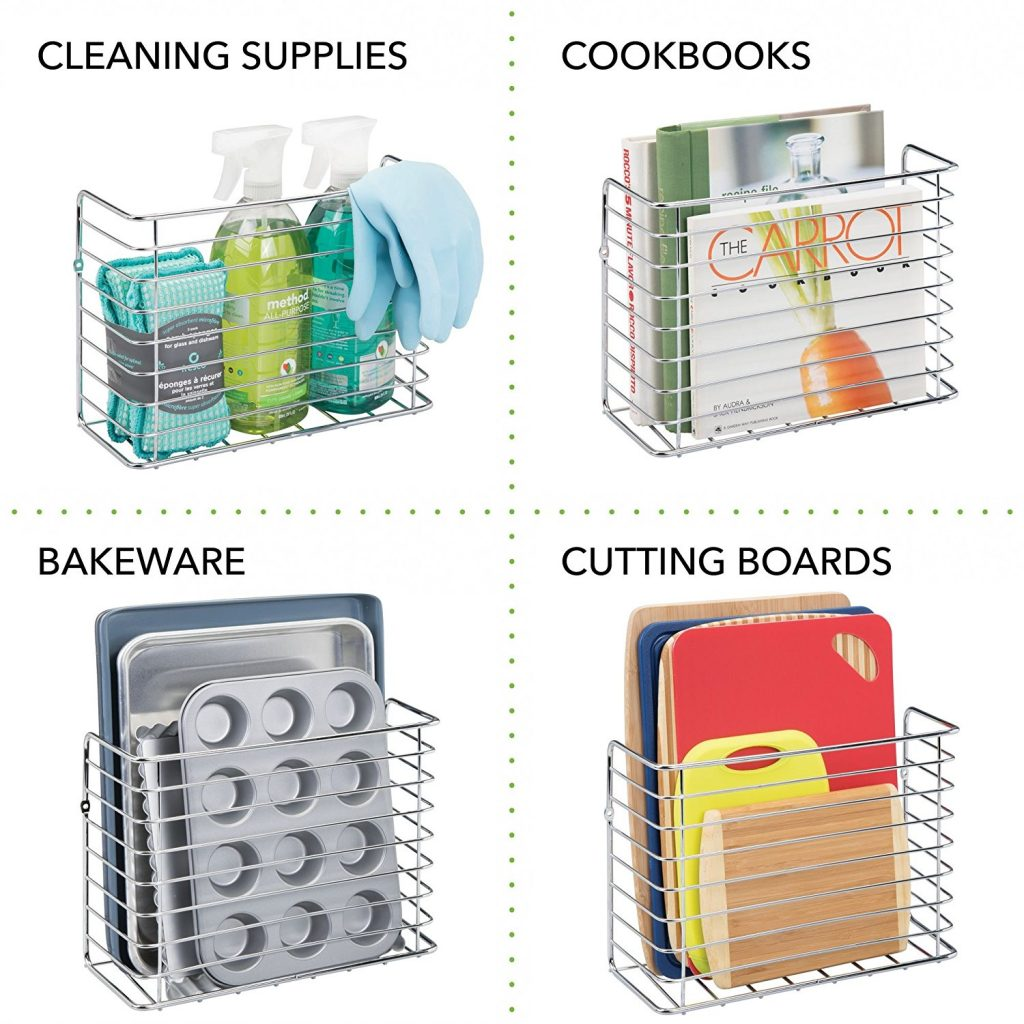 12 Life Changing Kitchen Organization Hacks mDesign Wall And Cabinet Door Mount Kitchen Storage Basket Rack #Organization #OrganizationHacks #KitchenHacks #mDesign #KitchenOrganizationHacks