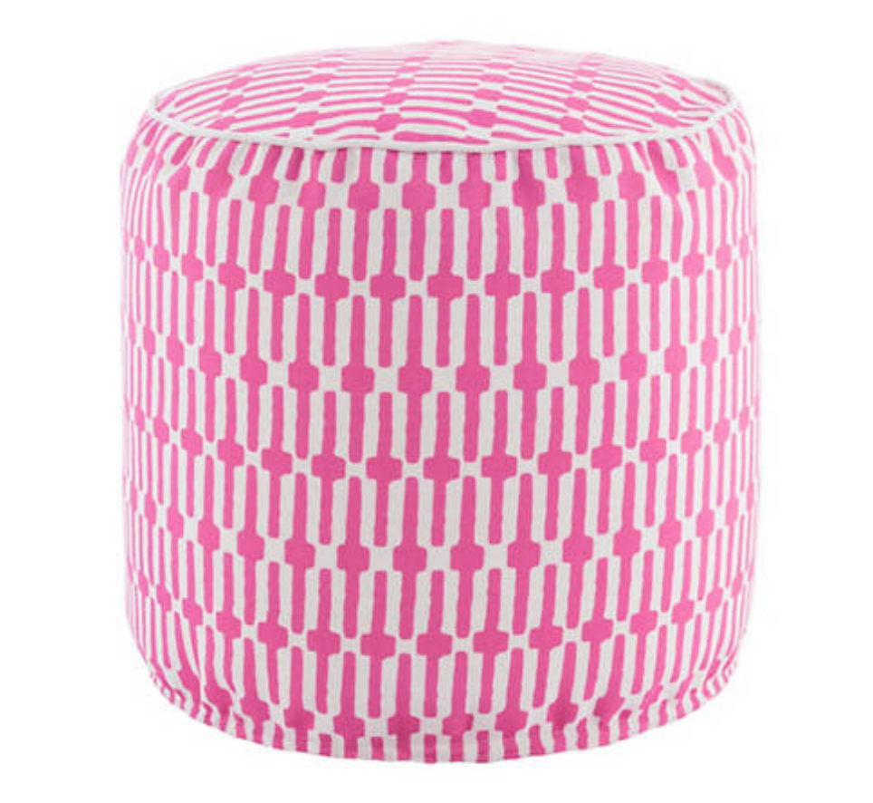 25 Pretty in Pink Gifts for Mom Links Fuchsia Indoor Outdoor Pouf #PineConeHill #MothersDay #MothersDayGifts #GiftsForMom #PinkGiftsForMom #PinkPouf