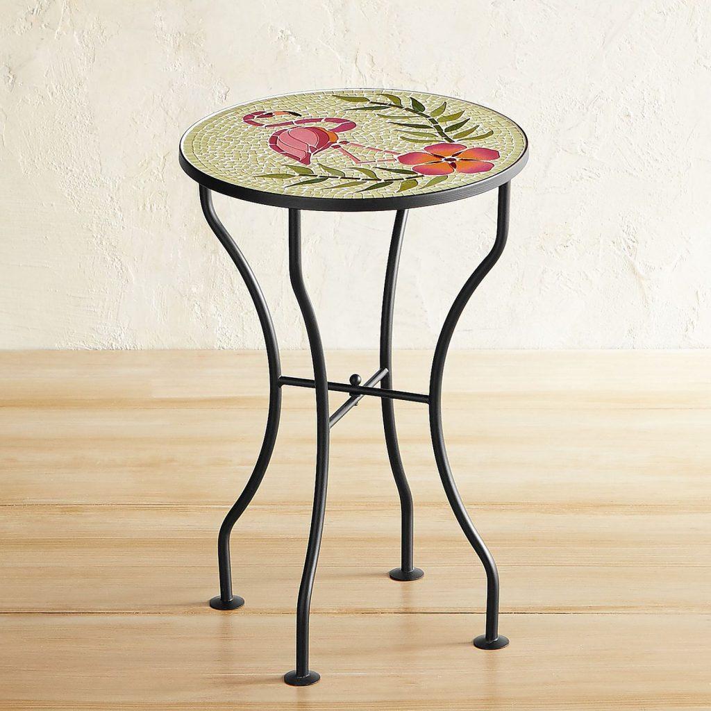 8 Bold Bistro Tables Flamingo Mosaic Accent Table #BistroTables #SmallSpace #SmallSpaceLiving #OutdoorLiving #Flamingos #Porch #Patio #Balcony