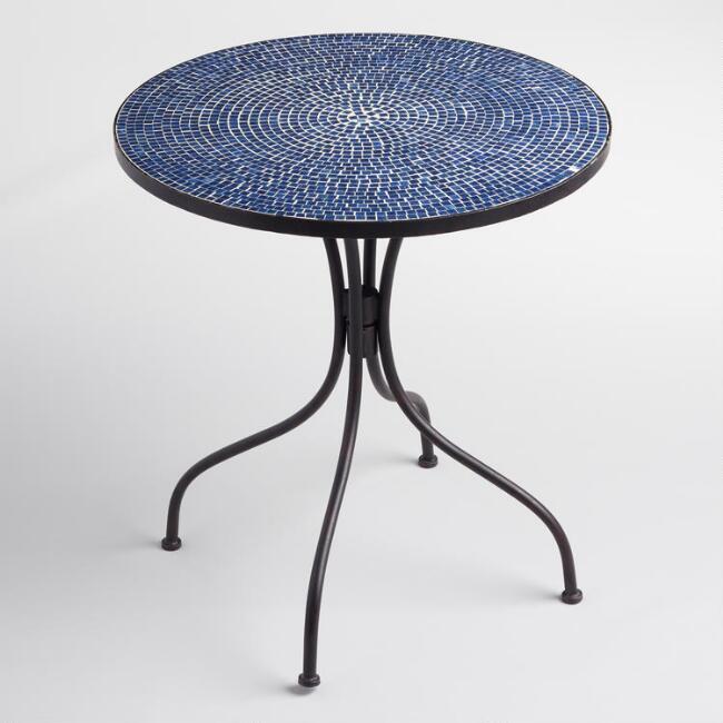 8 Bold Bistro Tables Peacoat Blue Cadiz Bistro Table #BistroTables #SmallSpace #SmallSpaceLiving #OutdoorLiving #ApartmentLiving #Porch #Patio