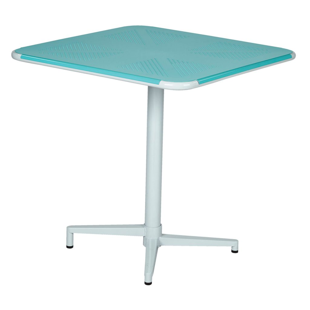 8 Bold Bistro Tables Teal Albany Square Folding Bistro Table #BistroTables #SmallSpaceLiving #OutdoorLiving #SmallSpace #TealAlbany #Porch #Patio #Pool