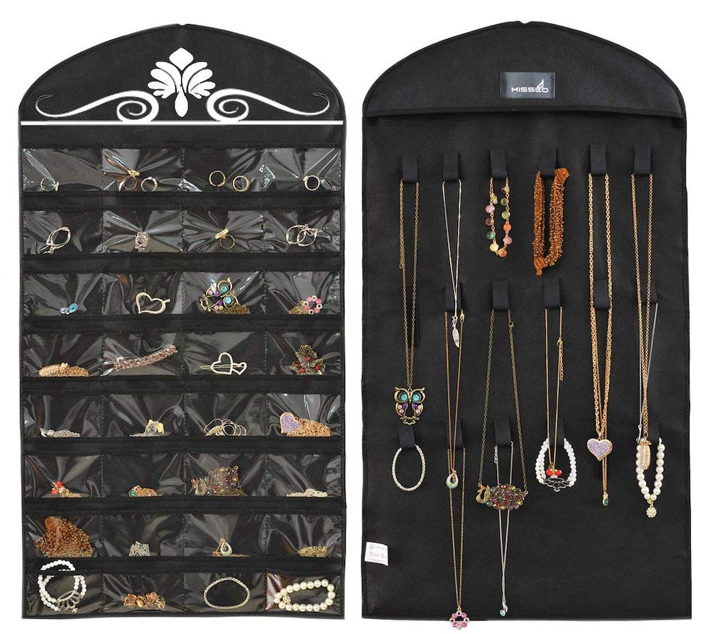 10 Massive Space Saving Closet Tips Jewelry Hanging Organizer #Organize #Organization #OrganizedCloset #OrganizeClothes #Closet #ClosetStorage #Storage #SaveTime #SaveMoney