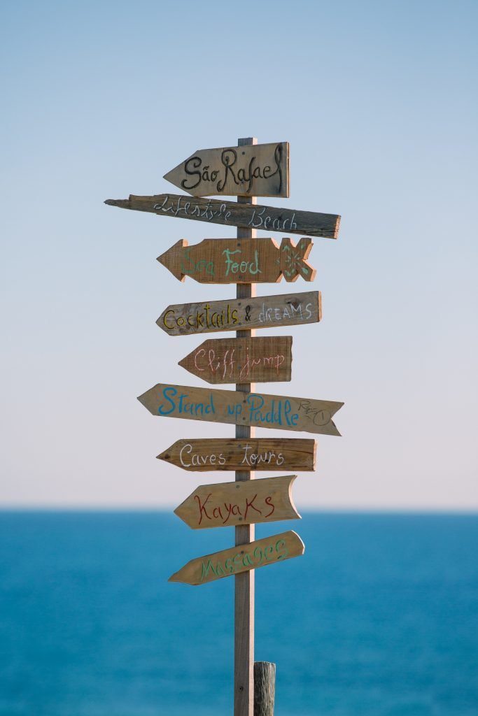 Summer Fun DIY Beach Directional Sign Albufeira, Portugal (photo By Marten Bjork) #DIY #SummerFun #SummerActivities #DIYBeach #DirectionalSigns #BeachSigns #Portugal #Beaches #BudgetFriendly #FrugalLiving #Frugal