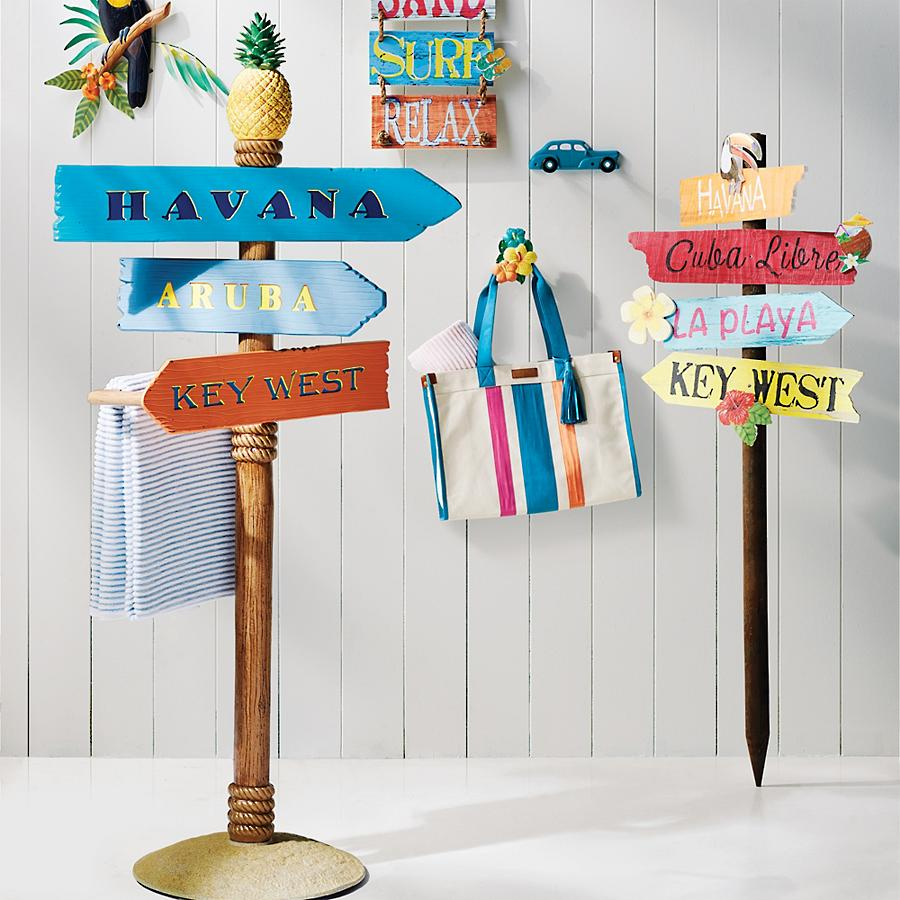Summer Fun DIY Beach Directional Sign Havana Directional Post Sign #DIY #SummerFun #SummerActivities #DIYBeach #DirectionalSigns #BeachSigns