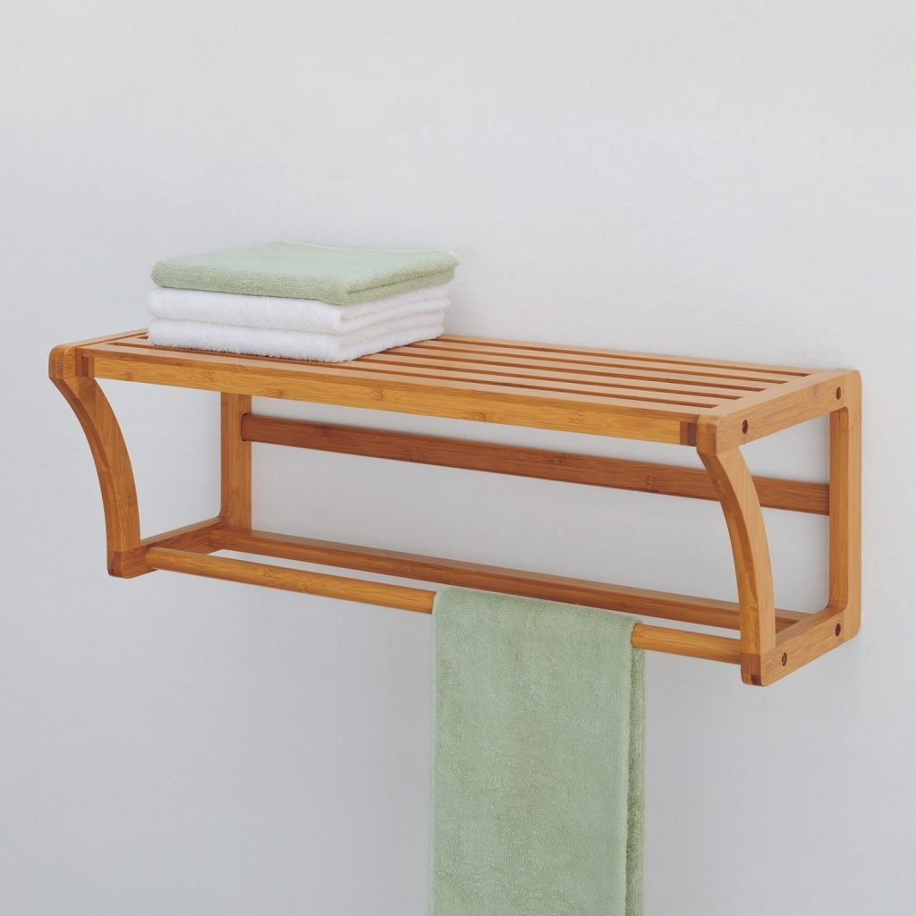 Create a Spa at Home with these 18 Bath Accessories - Organize It Bamboo Wall Mount Shelf #spa #bathroom #homespa #pamperyourself #spaaccessories #metime #bathaccessories