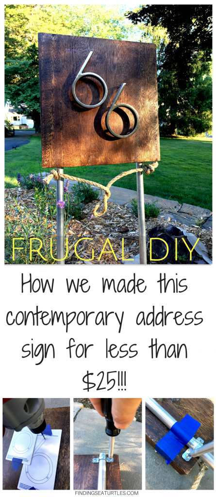 Frugal DIY: Mid-Century Modern Address Sign #coastal #beachhousedecor #DIY #frugalLiving #housenumber