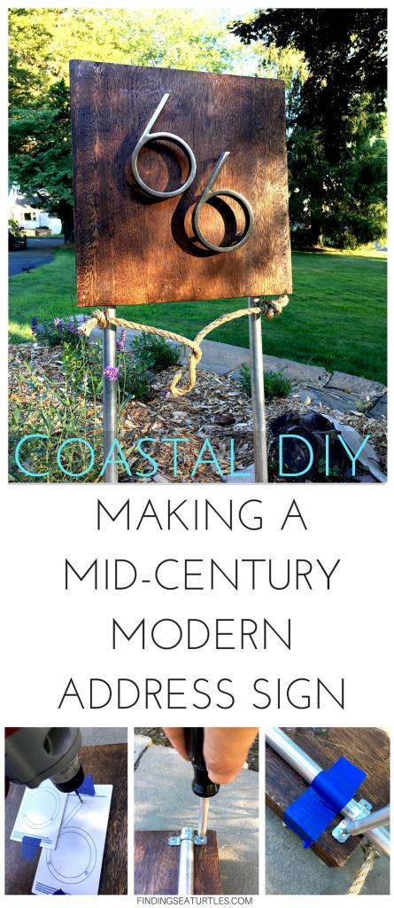 Coastal DIY: Mid-Century Modern Address Sign #coastal #beachhousedecor #DIY #frugalLiving #housenumber