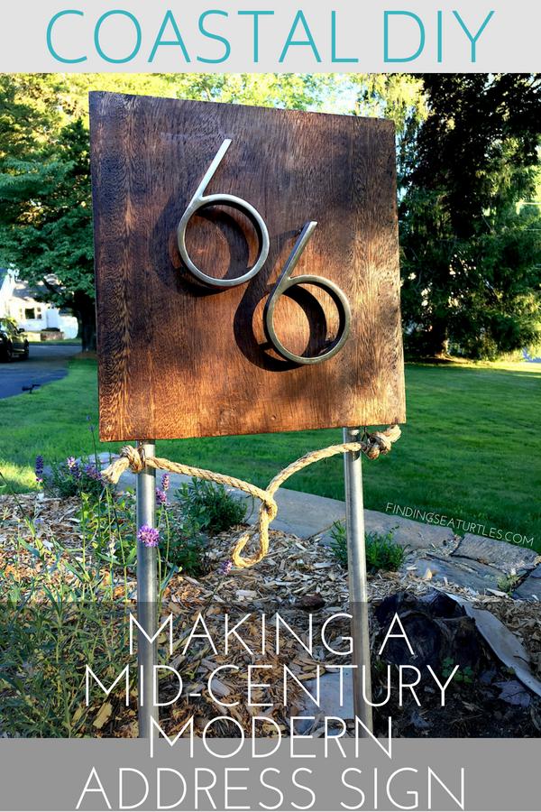 DIY: Making a Mid-Century Modern Coastal Address Sign #coastal #beachhousedecor #DIY #frugalLiving #housenumber