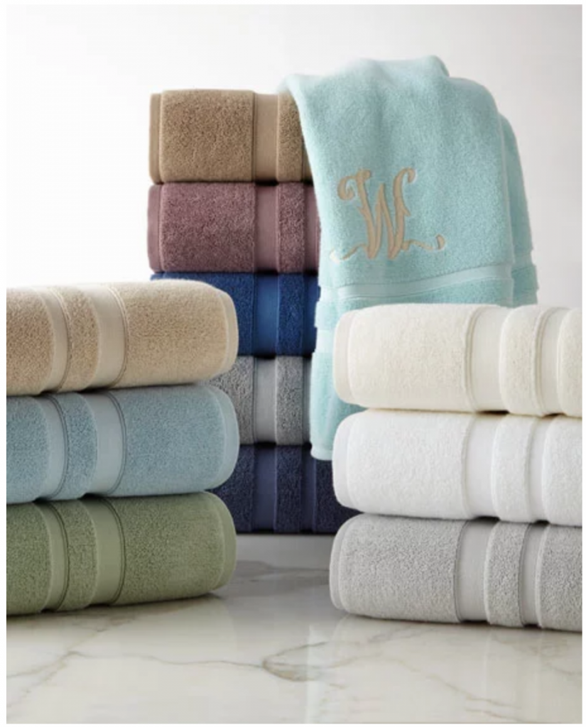 Create a Spa at Home with these 18 Bath Accessories - Waterworks Studio Perennial Bath towels #spa #bathroom #homespa #pamperyourself #spaaccessories #metime #bathaccessories