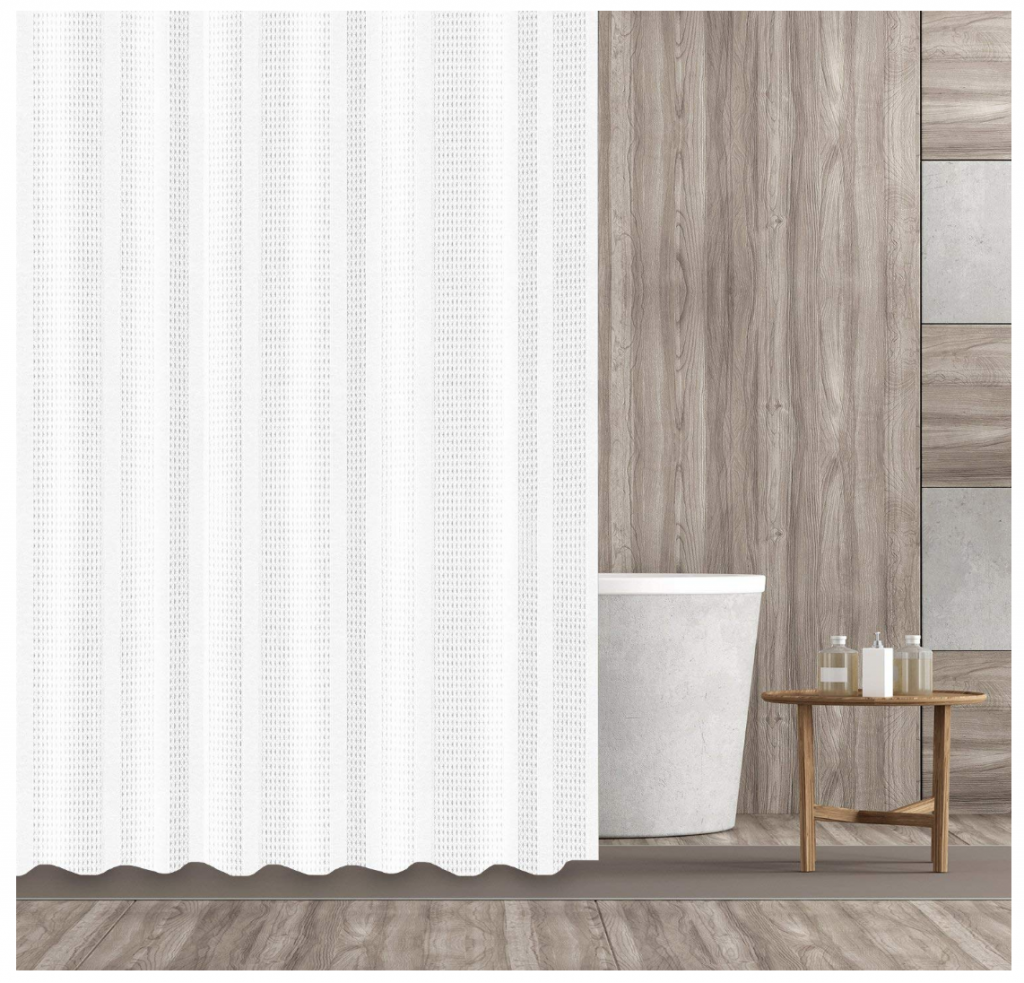 Create a Spa at Home with these 18 Bath Accessories - Hermosa Collection Waffle-Shower Curtain #spa #bathroom #homespa #pamperyourself #spaaccessories #metime #bathaccessories #Frontgate