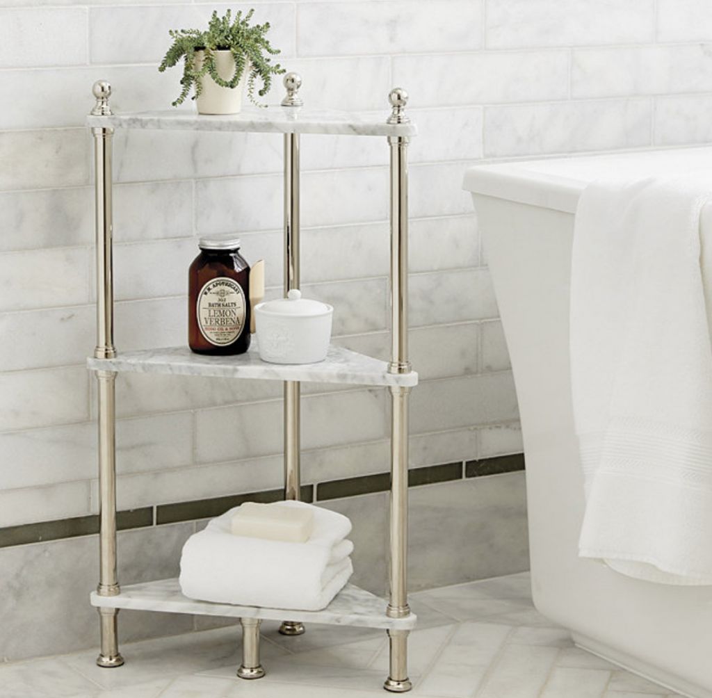 Create a Spa at Home with these 18 Bath Accessories - Ballard Designs Marble Corner Shelf #spa #bathroom #homespa #pamperyourself #spaaccessories #metime #bathaccessories #ballarddesigns