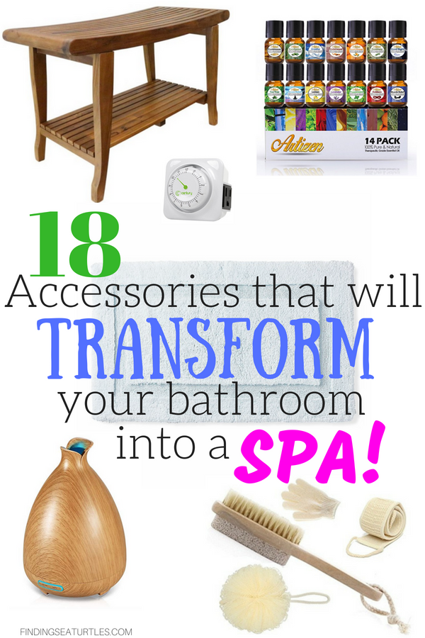 Create a Spa at Home with these 18 Bath Accessories #spa #bathroom #homespa #pamperyourself #spaaccessories #metime #bathaccessories