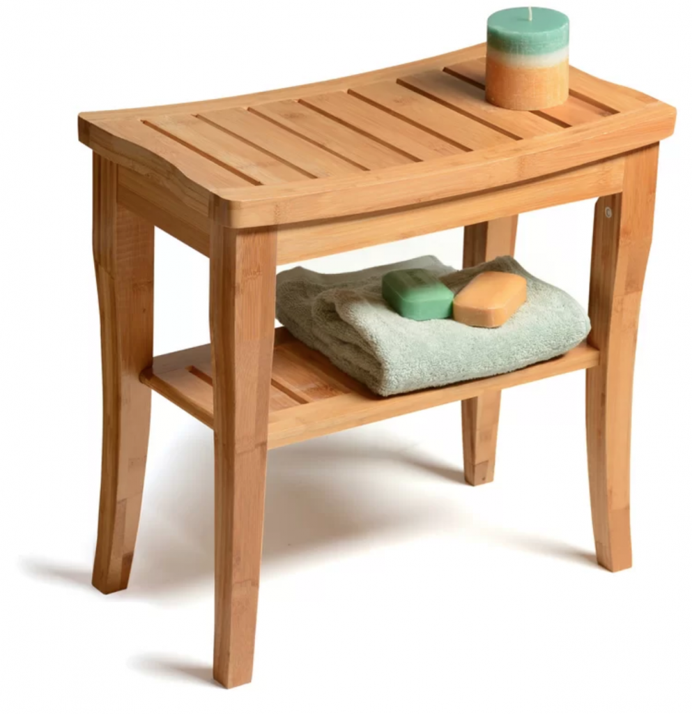 Create a Spa at Home with these 18 Bath Accessories - Symple Stuff Bamboo Deluxe Bench Shower Seat #spa #bathroom #homespa #pamperyourself #spaaccessories #metime #bathaccessories