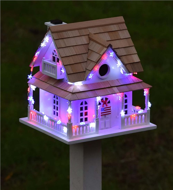 10 Blissful Birdhouses To Attract Birds That Serenade Americana Lighted Birdhouse #BlissfulBirdhouses #Birdhouses #Garden #Gardening #AttractsBirds #AmericanaLightedBirdhouse