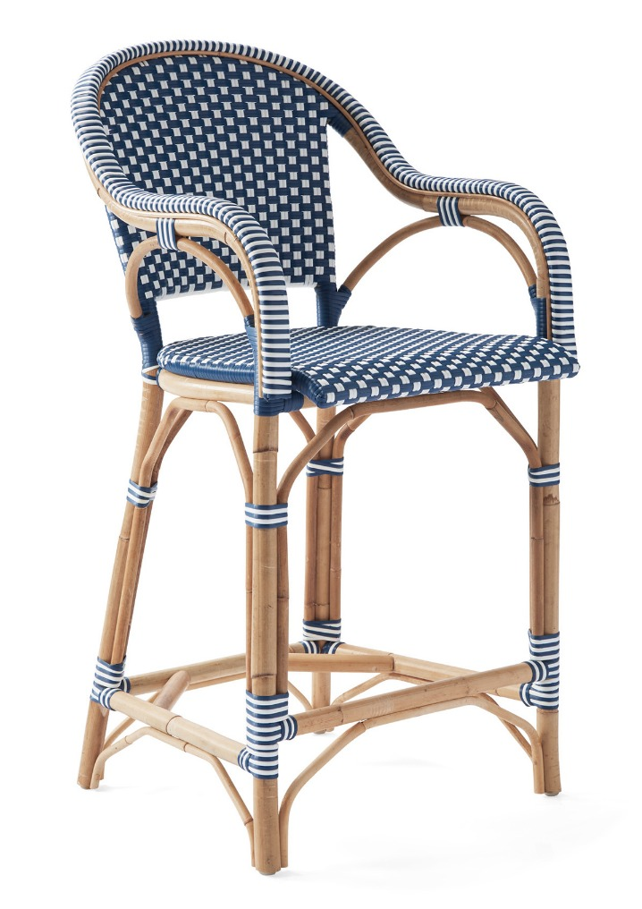 Chairs with Coastal Flair: Serena & Lily Collection - Riviera Counter Height Chair #SerenaLily #CoastalDecor #CoastalHome #BeachHouse