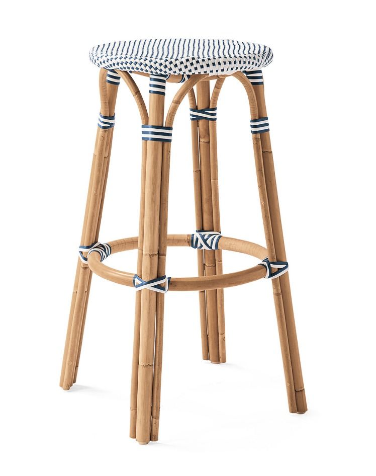 Chairs with Coastal Flair: Serena & Lily Collection - Riviera Backless Bar Stool #SerenaLily #CoastalDecor #CoastalHome #BeachHouse