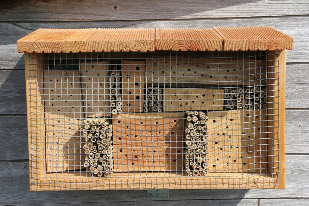 How to Build Bee Hotels for Solitary Bees Bee Hotel With Wooden Roof And Screen #BeeFriendly #Wildlife #HabitatforWildlife #ShelterforWildlife #BeneficialWildlife #SaveTheBees #BeeHotels #NativePlants #BeneficialPollinators