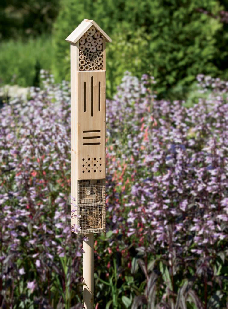 How to Build Habitats for Beneficial Wildlife Wooden Insect Hotel with Stake #Wildlife #HabitatforWildlife #ShelterforWildlife #BeneficialWildlife #BuildHabitatForWildlife #NestBoxes #BugBoxes #BeeHotels #NativePlants #BeneficialPollinators