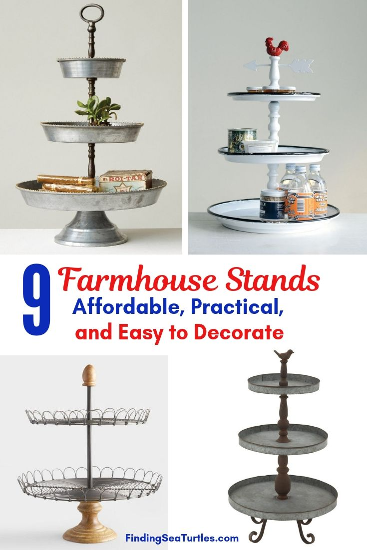 9 Farmhouse Stands Affordable Practical Easy To Decorate #TierStand #TierTrayStand #MetalTrayStand #Farmhouse #Decor #HomeDecor #Decorate #Vignette #FarmhouseStands